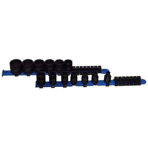 Holex 3/8 Drive 6 Point Standard IMPACT Socket Set of 13 on Rails