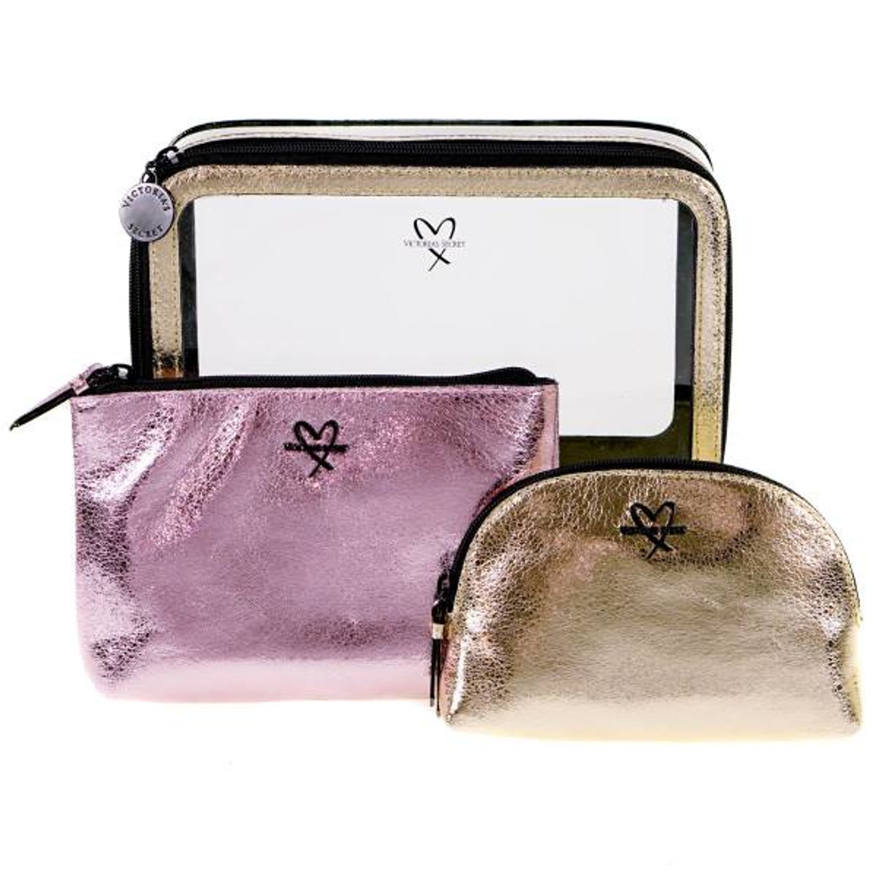be8137d8125e Victoria s Secret Gold And Pink Cosmetic Bag 3 Piece Set