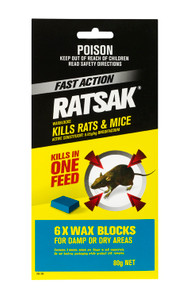 PESTICIDE RATSAK FAST ACTION WAX 80G