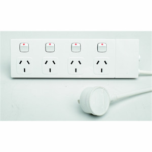 POWERBOARD 4 OUTLET SWITCHED WHITE