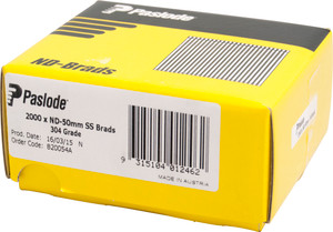 Brads ND Series S/steel 50mm 2000bx B20054A Paslode