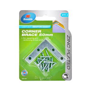 BRACE CORNER FLAT ZP STEEL 50MM PK4