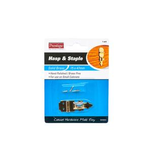 HASP & STAPLE DEC BRASS 15X47MM