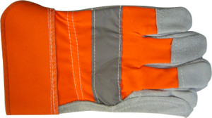 GLOVES LEATHER SPLIT HI-VIS LGE