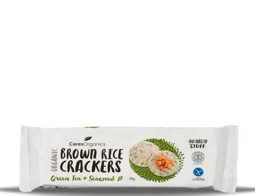 Ceres Organics Brown Rice Crackers Green Tea & Seaweed