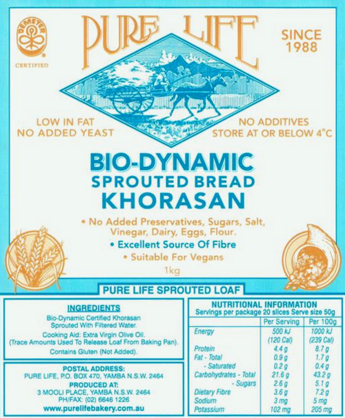 Pure Life Bread Sprouted Khorasan Only Melbourne and un-remote East Coast