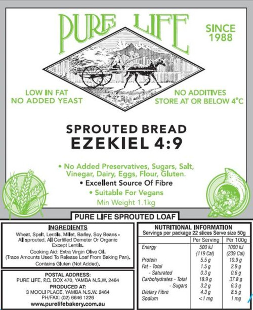 Pure Life Bread Sprouted Ezekiel 4:9 Only Melbourne and un-remote East Coast