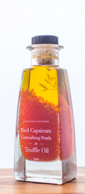 Nicholson's Fine Food Red Capsicum Garnishing Pearls in Truffle Oil