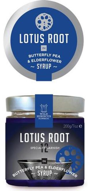Wild Hibiscus Lotus Root Slices In Butterfly Pea & Elderflower Syrup