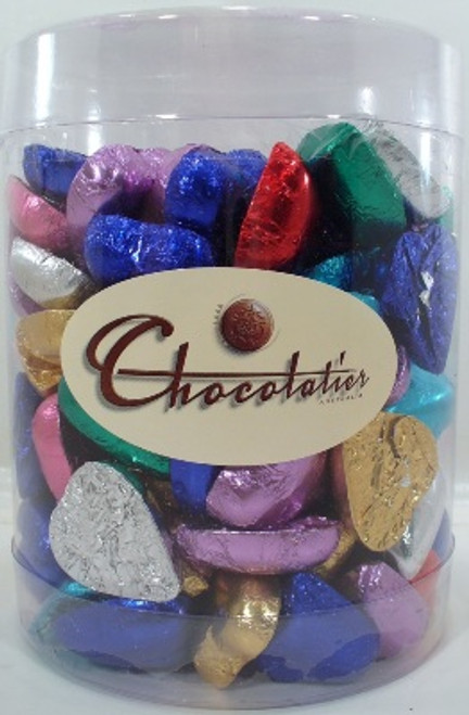 Chocolatier Milk Chocolate Hearts assorted Colours Tub