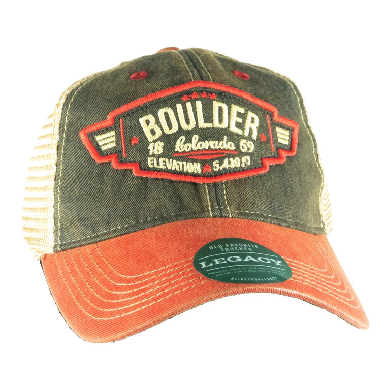 Boulder Wings Patch Adjustable Hat, black and scarlet red