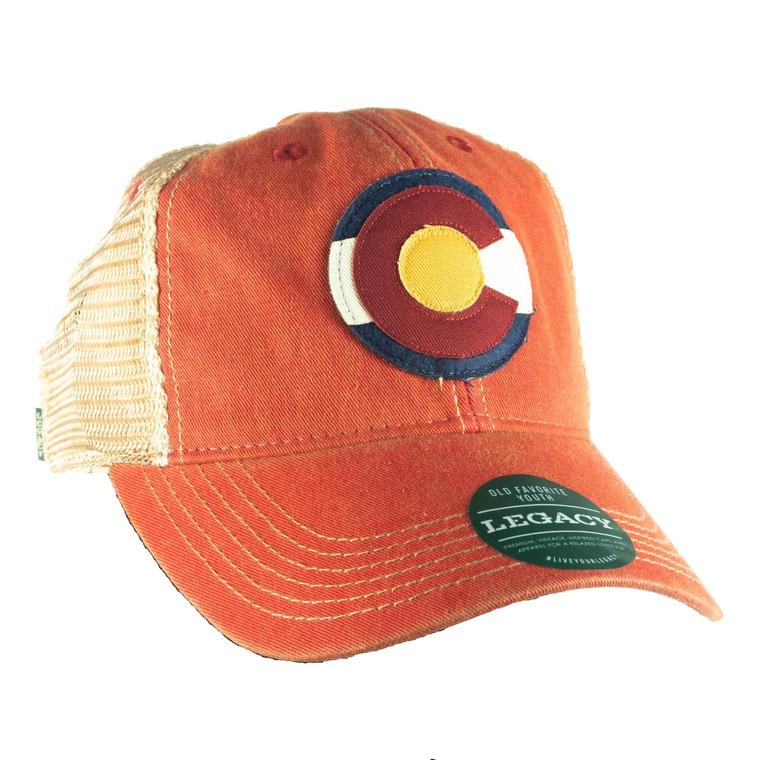 Children's Colorado Flag Adjustable Hat, scarlet red