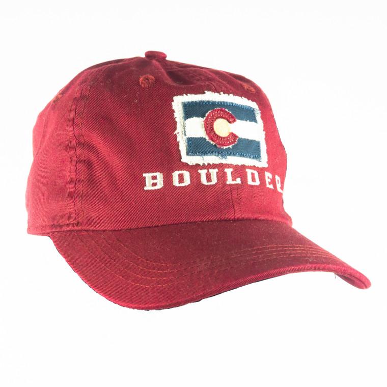 Boulder Colorado State Flag Patch Hat, crimson red