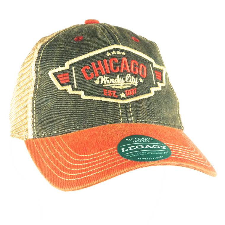 Chicago Wings Patch Adjustable Hat, black and scarlet red