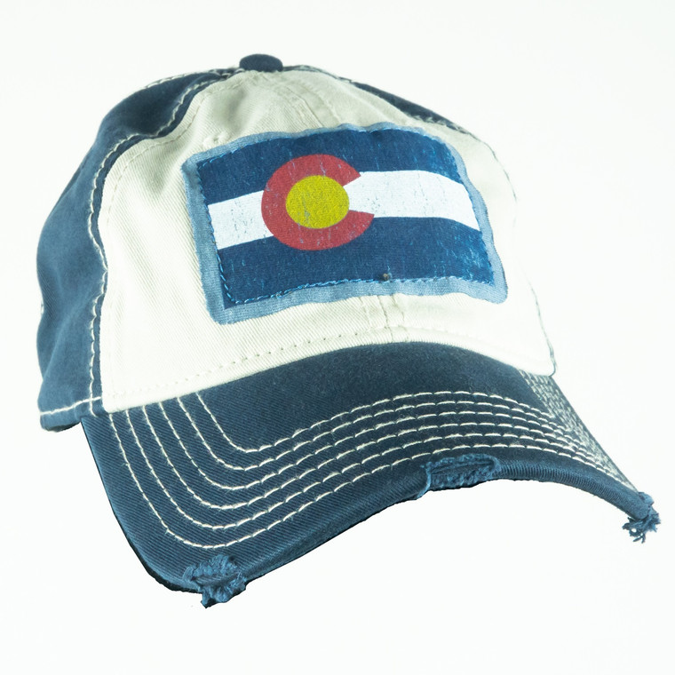 Colorado State Flag Tattered Hat, navy and khaki