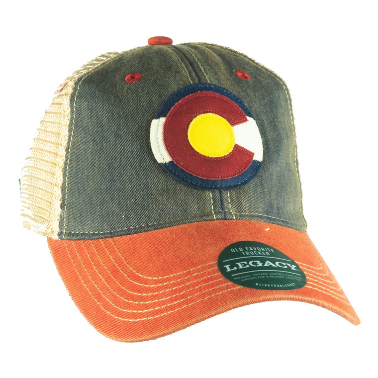 Colorado Flag Circular Emblem Hat, navy scarlet red