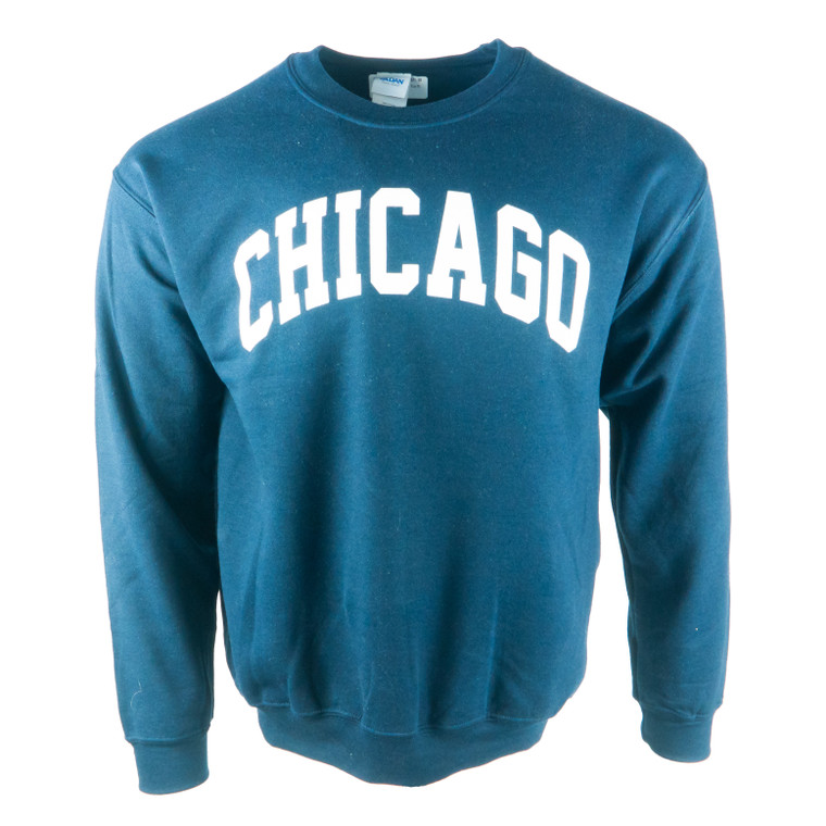 Men's Crew Neck Chicago Arch Sweatshirt, navy and white