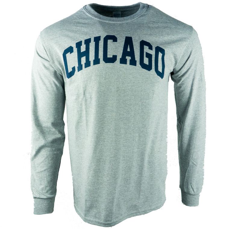 Men's Long Sleeve Chicago Arch T-Shirt, grey and navy