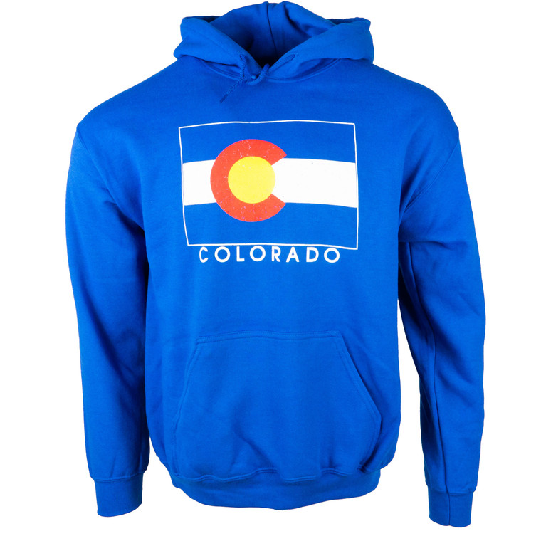 Men's Hoodie Colorado State Flag Sweatshirt With Name, blue