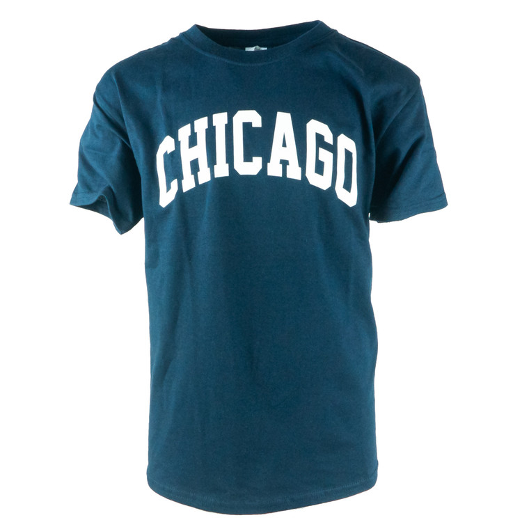 Youth Short Sleeve Chicago Arch T-Shirt, navy and white
