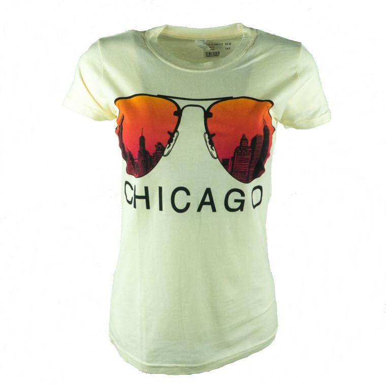 Women's Short Sleeve Chicago City Shades T-Shirt, natural white