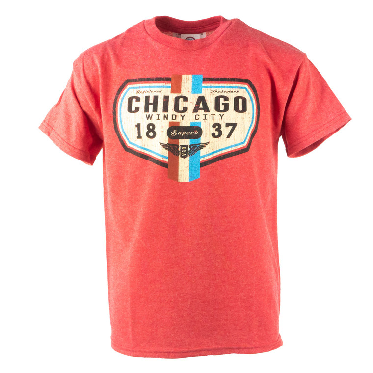 Youth Short Sleeve Chicago Superb T-Shirt, scarlet red