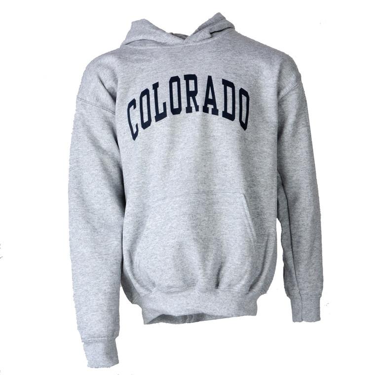 Youth Hoodie Colorado Arch Sweatshirt, sport grey and navy