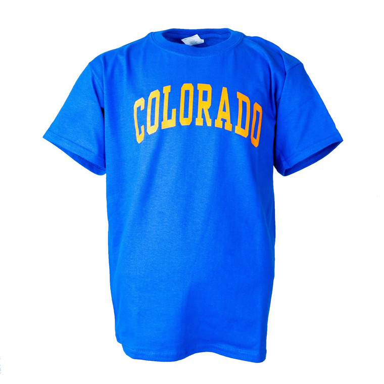 Youth Short Sleeve Colorado Arch T-Shirt, royal and bright orange