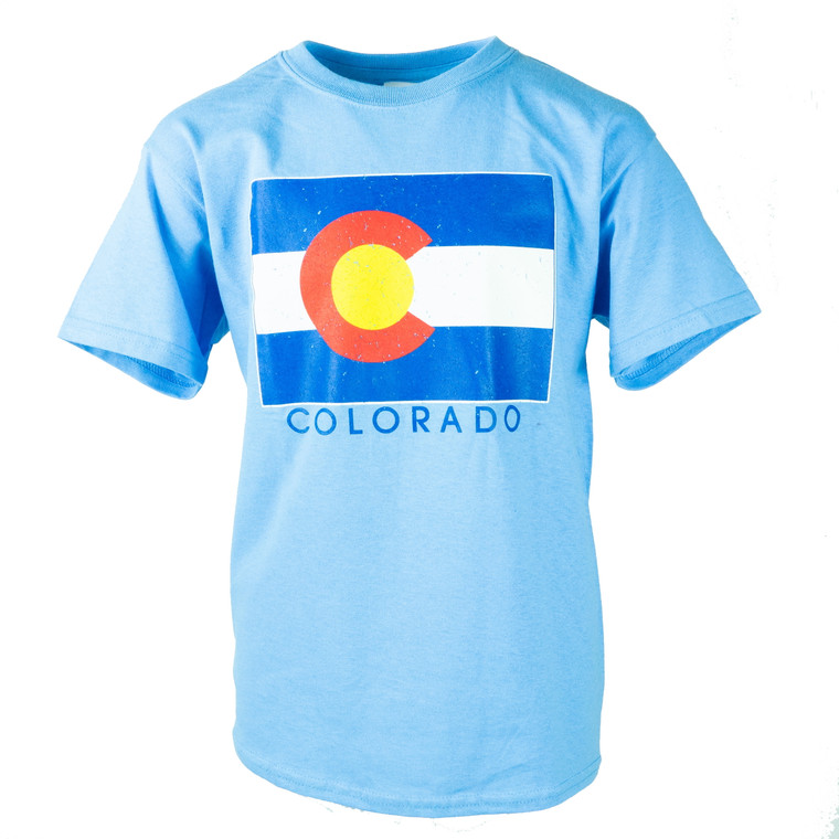 Children's Short Sleeve Colorado State Flag T-Shirt, Carolina blue, baby blue