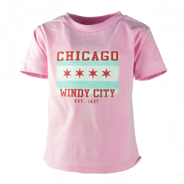 Toddler's Short Sleeve Chicago Flag T-Shirt