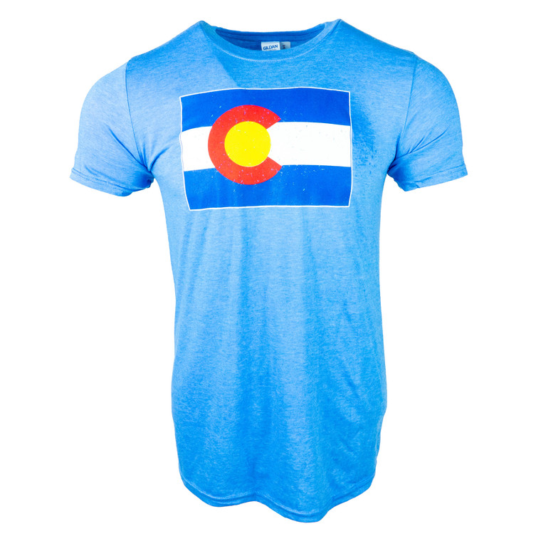 Men's Short Sleeve Colorado State Flag T-Shirt, royal blue