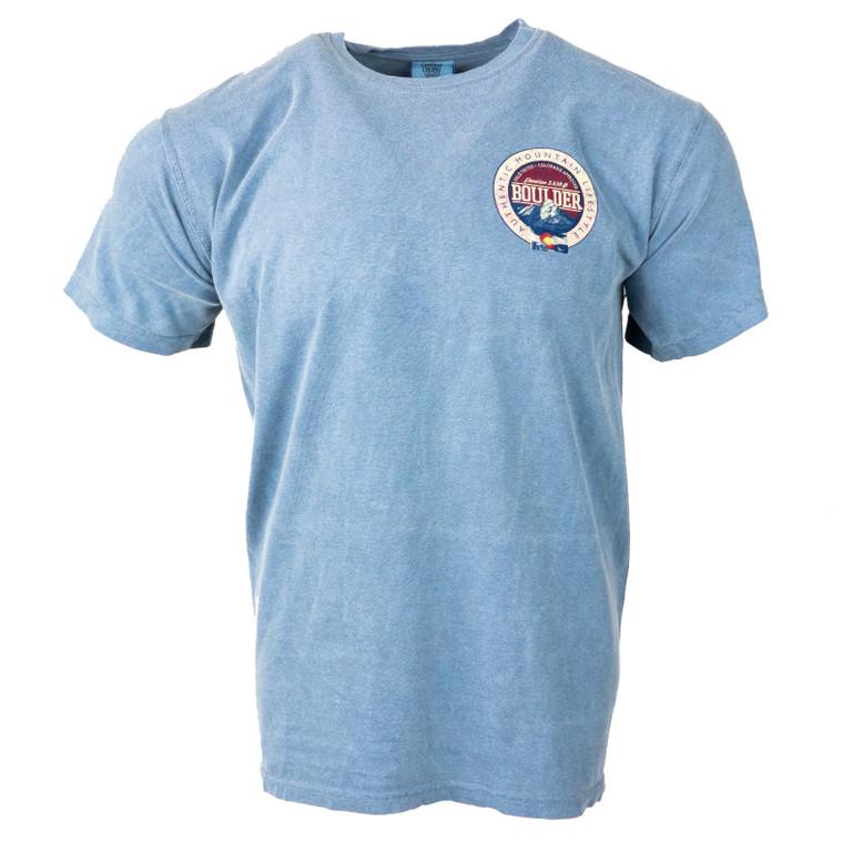 Men's Short Sleeve Boulder Authentic Mountain T-Shirt, blue jean