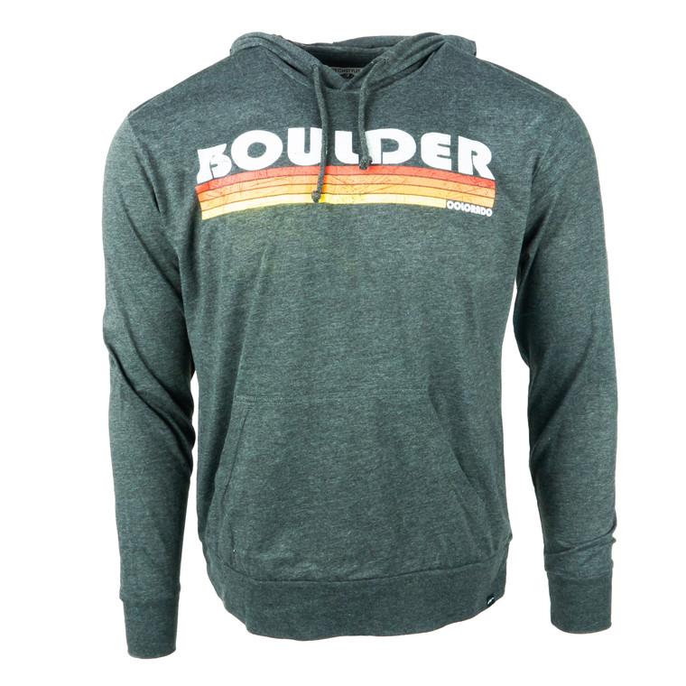 Men's Hoodie Boulder Flatliner Thin Sweatshirt, charcoal grey