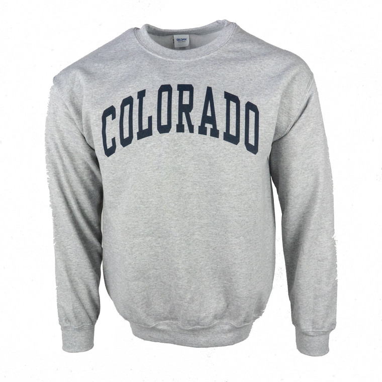 Men's Crew Neck Colorado Arched Logo Sweatshirt, sport grey and navy