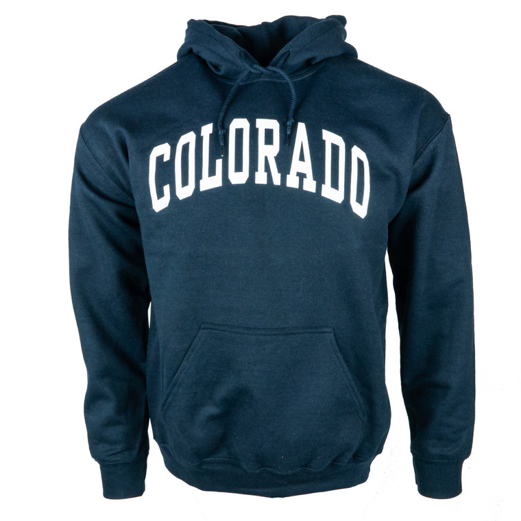 Men's Hoodie Colorado Arched Logo Sweatshirt, navy and white