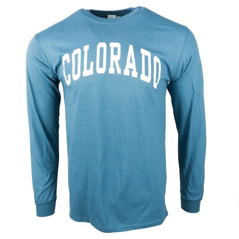 Men's Long Sleeve Colorado Arched Logo Shirt, indigo blue and white