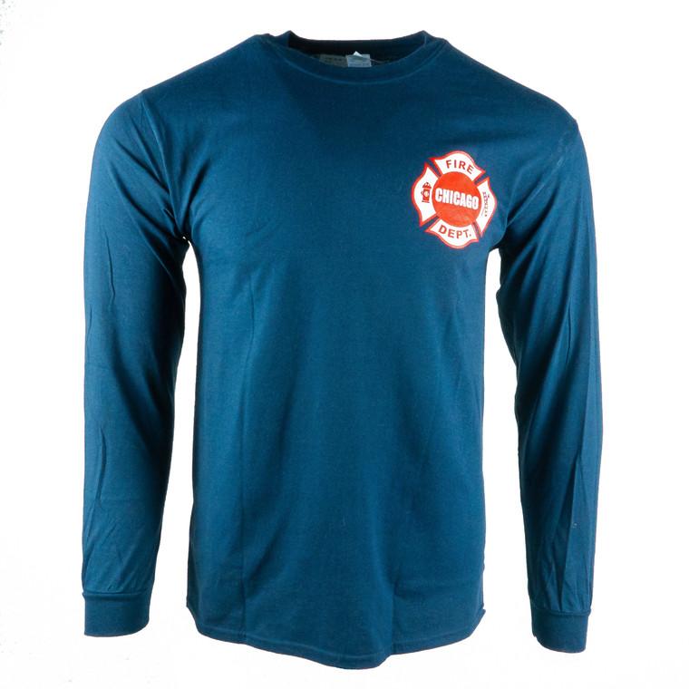 Men's Long Sleeve Chicago Fire Department T-Shirt, navy