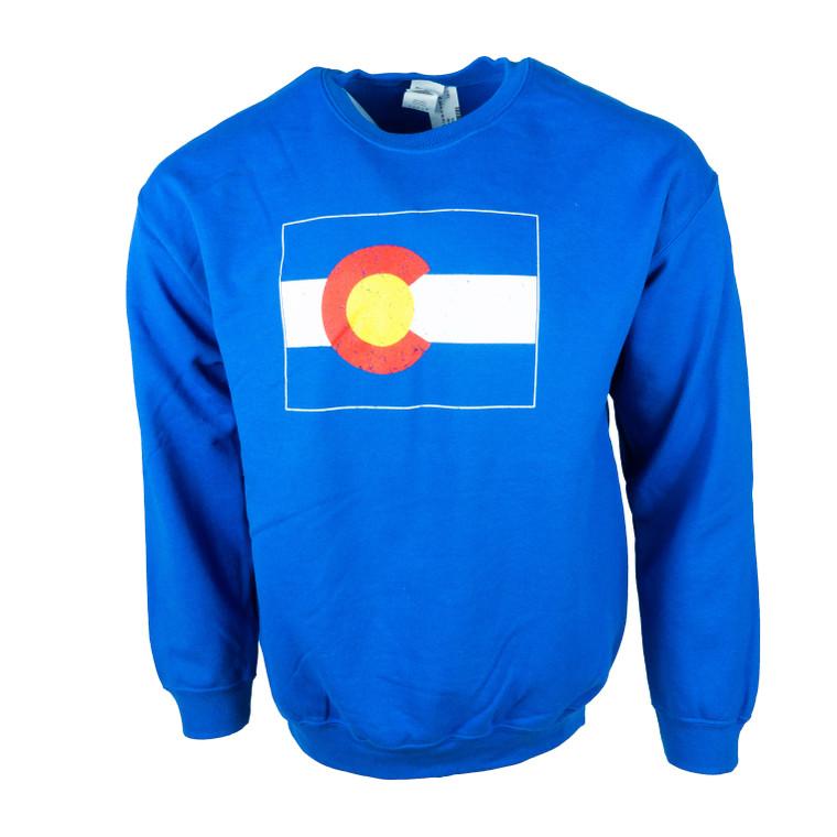 Men's Crew Neck Colorado State Flag Sweatshirt, royal blue