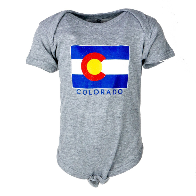 Toddler Colorado Flag Onesie, grey