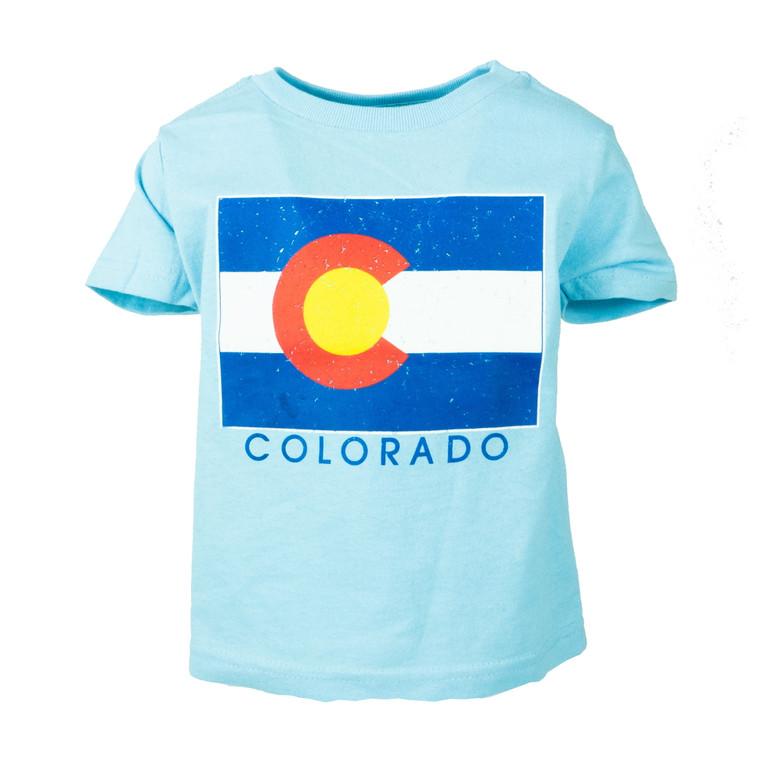 Toddler Short Sleeve Colorado Flag T-Shirt, light blue