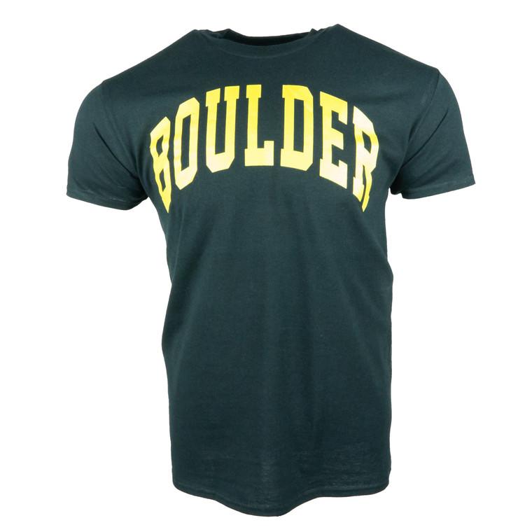 Men's Short Sleeve Boulder Simple Arch T-Shirt, black and gold