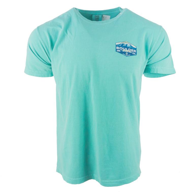 Men's Short Sleeve Boulder Jackpot Mountain T-Shirt, seafoam green