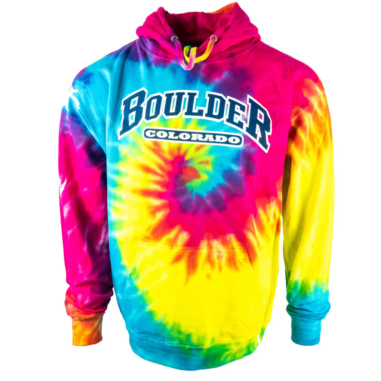 Men's Boulder Colorado Tye Dye Hoodie Sweatshirt, rainbow