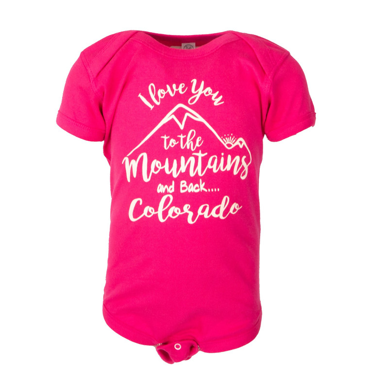 Toddler I Love You to the Mountains and Back Onesie,  hot pink