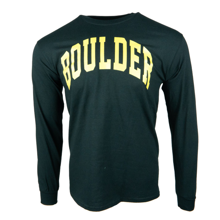 Men's Long Sleeve Boulder Simple Arch T-Shirt, black and gold