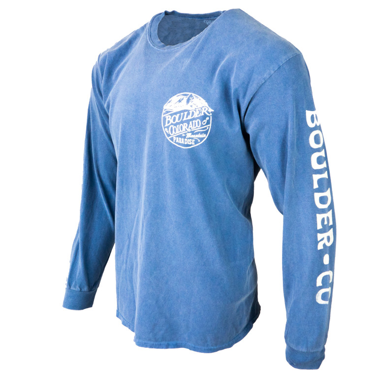 Men's Long Sleeve Boulder Flatiron Mountain Paradise T-Shirt