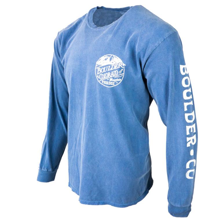 Men's Long Sleeve Boulder Flatiron Mountain Paradise T-Shirt, pacific blue