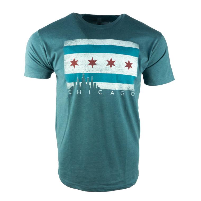 Men's Short Sleeve Chicago Flag Skyline T-Shirt,  indigo blue