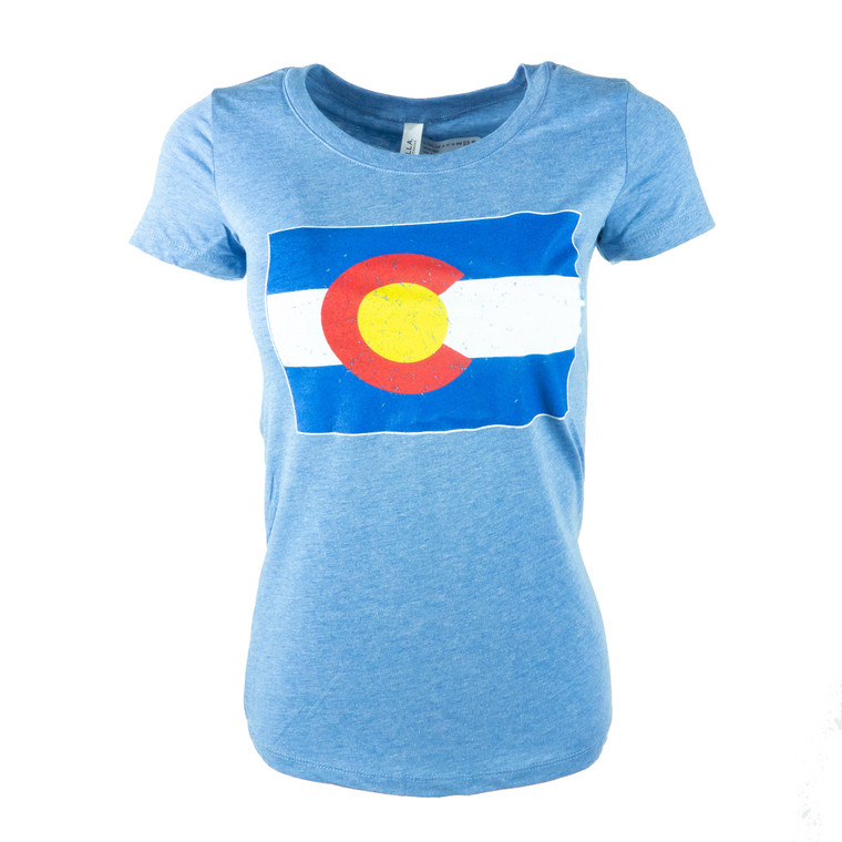 Woman's Short Sleeve Colorado State Flag T-Shirt,  blue triblend
