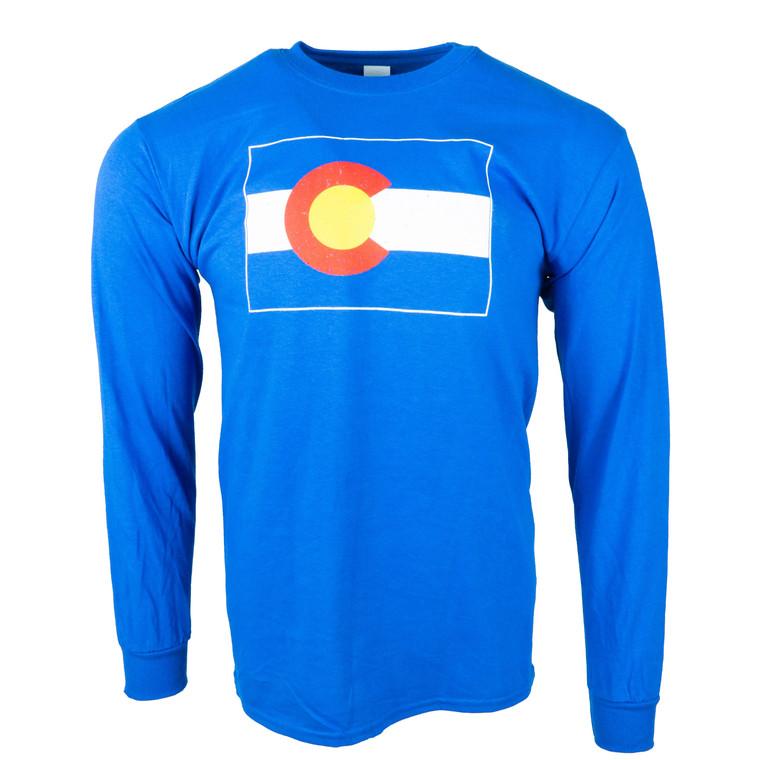 Men's Long Sleeve Colorado State Flag T-Shirt, royal blue